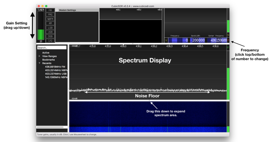 CubicSDR Main Window (Annotated)